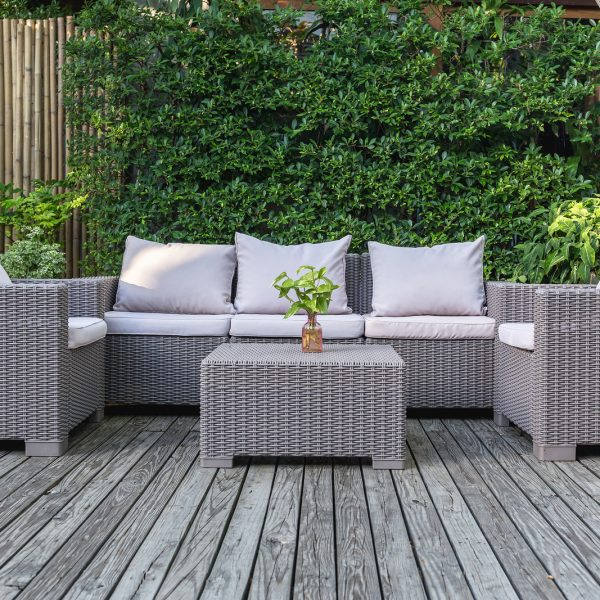 Large Terrace Patio With Rattan Garden Furniture In The Garden O